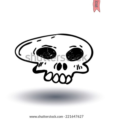 skull cartoon icon. vector illustration.