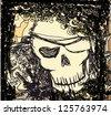 Skull Pirate - retro card - stock vector
