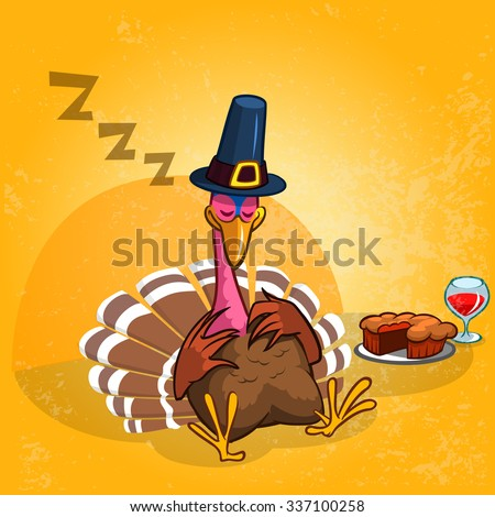 Sleeping turkey after a good meal with pie and glass of red vine. Thanksgiving illustration of cartoon turkey isolated on orange background - stock vector