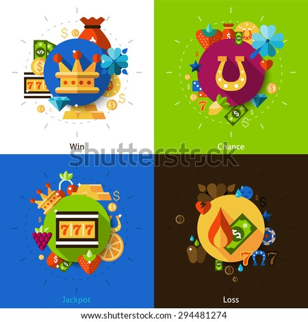 Slot machine concept with win chance jackpot and loss icons set flat isolated vector illustration  - stock vector