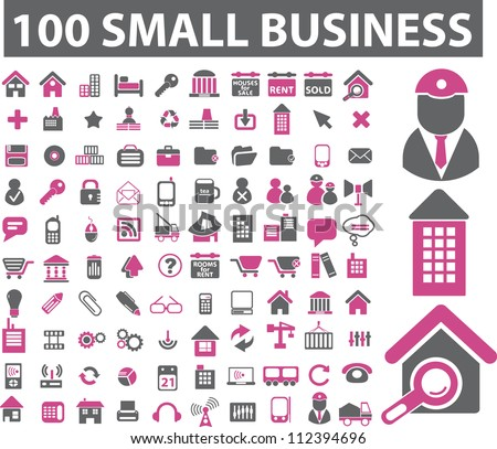 100 Small Business Icons Set Vector Stock Vector Hd Royalty Free