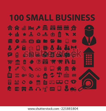 100 small business, organization icons, signs, illustrations, silhouettes set, vector
