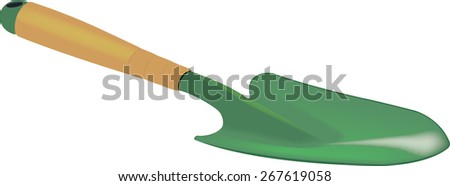 Small shovel for gardening and to till the soil - stock vector