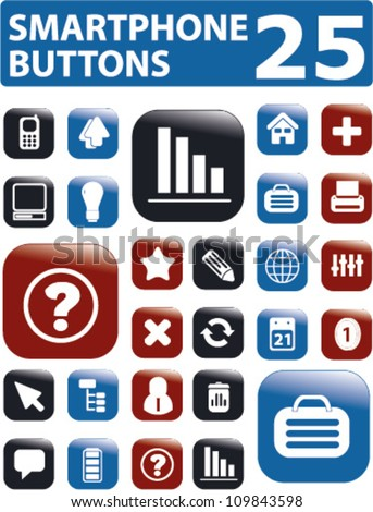 25 smartphone apps glossy buttons - stock vector