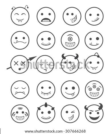 20 smiles vampires icons set black and white - stock vector