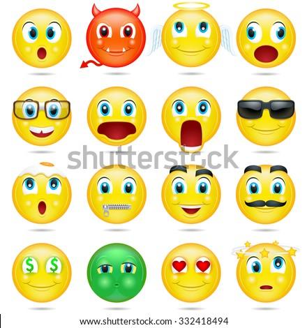 Smiley collection. Vector - stock vector