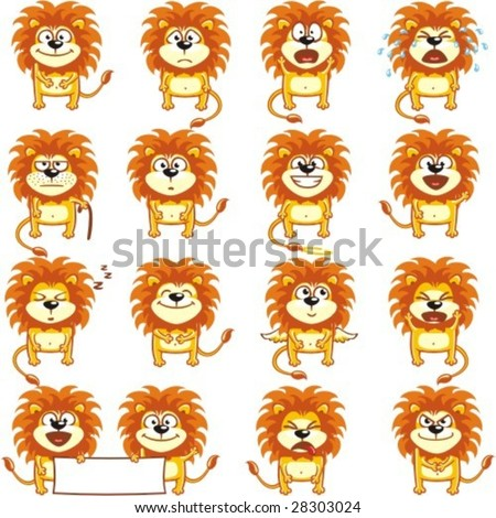 16 smiley lions individually grouped for easy copy-n-paste.(2) - stock vector