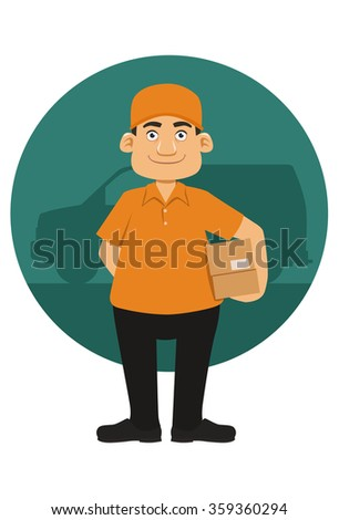 smiling deliveryman with a van background