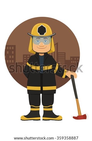 smiling firefighter with his axe