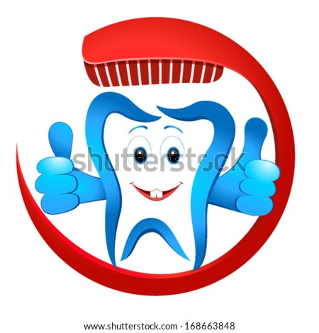smiling tooth with toothbrush - stock vector