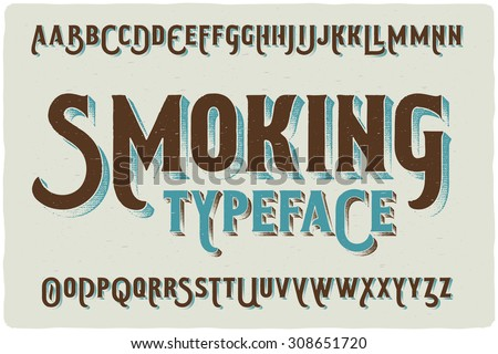 """Smoking"" retro style font with grunge texture effect - stock vector"