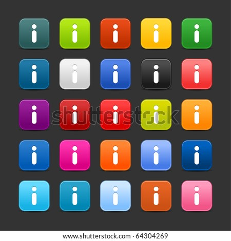 25 smooth satined web 2.0 button with information sign. Colorful rounded square shapes with shadow on gray background - stock vector