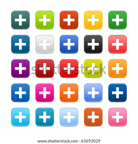 25 smooth satined web 2.0 button with plus sign on white background. Colorful rounded square shapes with shadow - stock vector