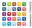 25 smooth satined web 2.0 button with share sign. Colored rounded square shapes with gray shadow on white background. This vector illustration saved in 8 eps - stock photo