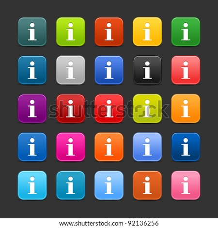25 smooth satined web 2.0 button with support information sign. Colored rounded square shapes with black shadow on gray background. This vector illustration saved in 8 eps - stock vector