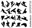 20 snowboarders outlines on a white background - stock photo