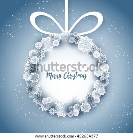 snowflakes, winter background, place for text. Cute Merry Christmas card