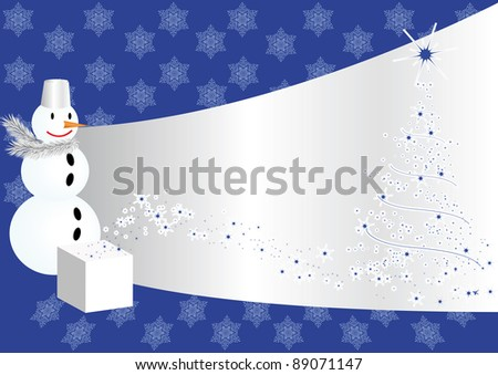 snowman and christmas pine tree on blue background