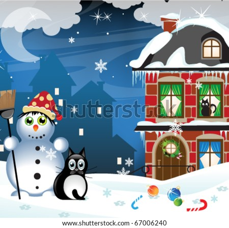Snowman and vagrant cat in a snow-covered city - stock vector