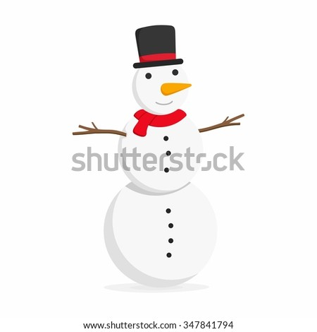 Snowman with top hat on White background. Vector illustration