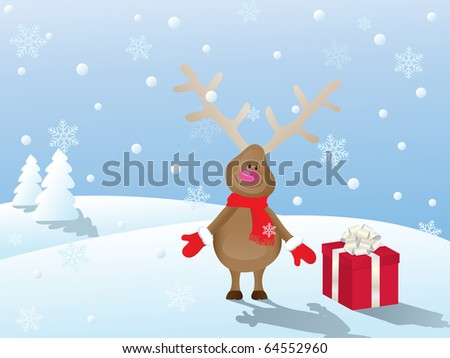 snowy christmas landscape with deer and gift - stock vector