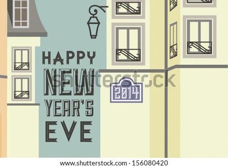snowy street, Happy New Year, Paris - stock vector