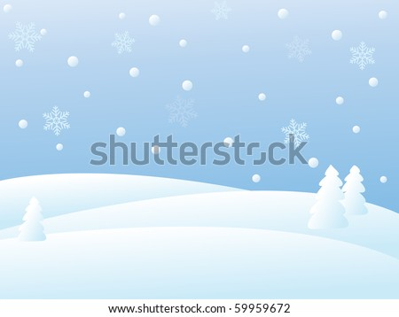 snowy winter landscape/vector illustration - stock vector