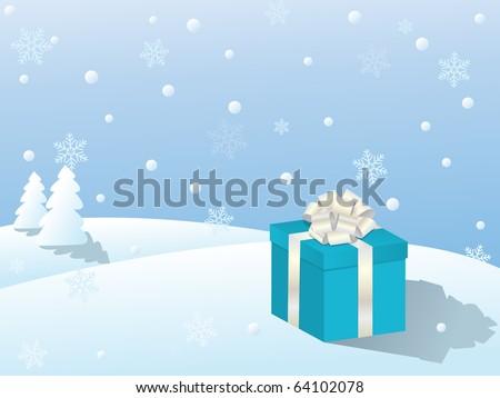 snowy winter landscape/vector illustration - stock vector