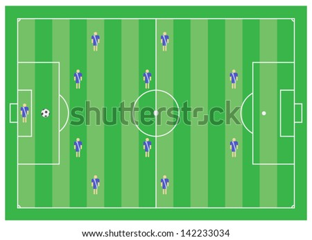 4-4-2 soccer tactical scheme - stock vector