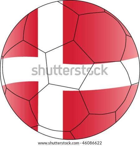 Soccer vector ball Denmark - participant Soccer World Championship 2010 - stock vector