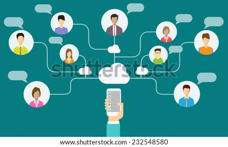 social communication and business connection on mobile - stock vector