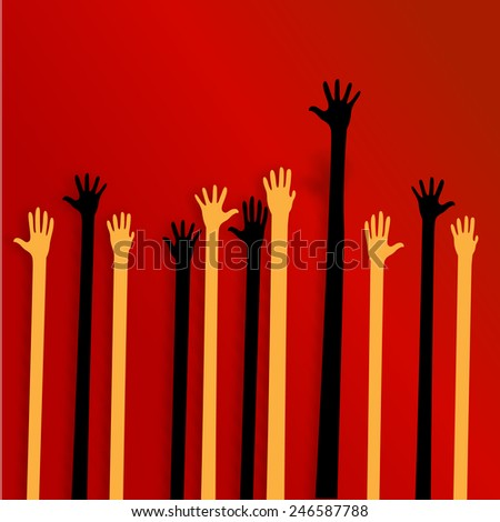 Social hands up vector isolated  - stock vector