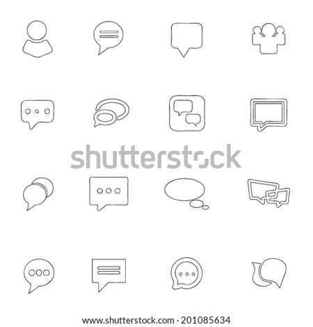 Social icons thin line drawing by hand Set 6  - stock vector