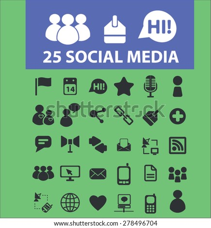 25 social media, community icons, signs, illustrations set, vector - stock vector