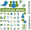 25 social media icons set, vector - stock