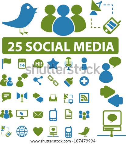 25 social media icons set, vector - stock vector