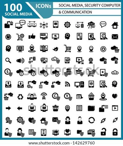 100 Social media, Security computer & Communication icon set,vector - stock vector