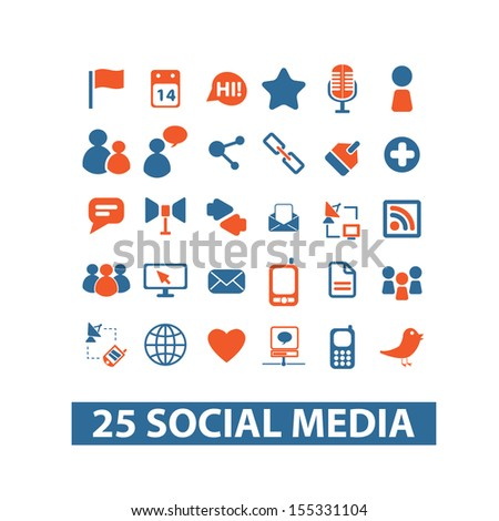 25 social media, technology, internet icons, signs set, vector - stock vector