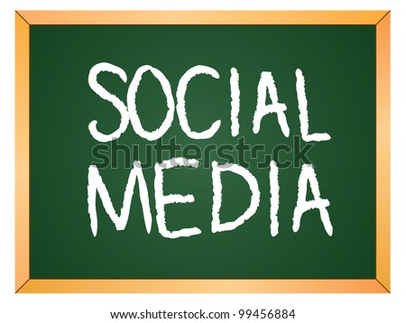 """social media"" word written on chalkboard - stock vector"