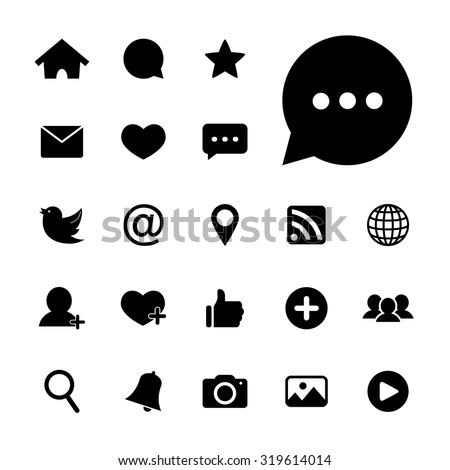 social media icons vector black and white