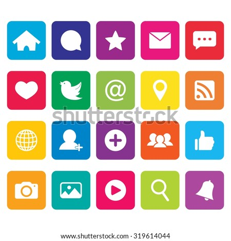 Social network icon. Social media icons. Internet icon. Vector. Illustration. EPS10