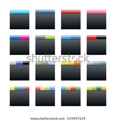 16 social networks black icon. Solid plain flat tile style. Blank square internet button with popular colors striped lines on white background. Vector illustration web design elements saved in 10 eps - stock vector