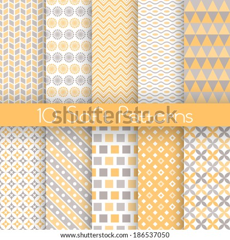 10 Soft different vector seamless patterns (tiling). Endless texture for wallpaper, fill, web page background, texture. Set of delicate geometric ornament. Yellow, grey and white shabby colors - stock vector