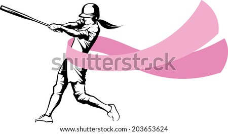 softball hitter swinging, one with a breast cancer ribbon flowing from her waist, one not.  - stock vector