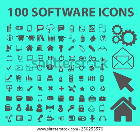 100 software, application, programming icons, illustrations, signs set, vector - stock vector