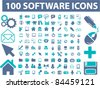 100 software interface icons, signs, vector illustrations set - stock vector