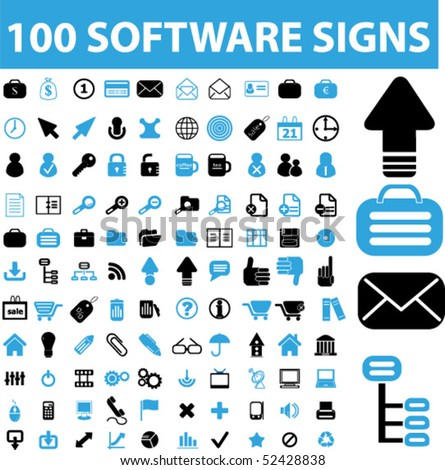 100 software signs. vector