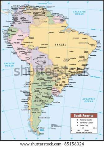 2012 South America Political Continent Map - stock vector