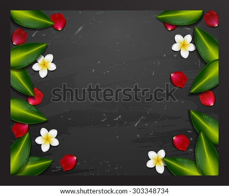 spa background. spa background with tropical flowers. Summer tropical green leaves - stock vector