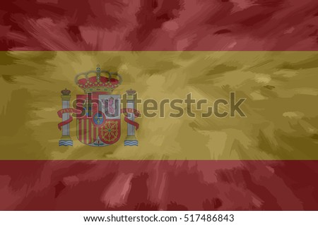 Spanish painted / drawn vector flag. Dramatic, unusual look. Vector file contains flag and texture layers